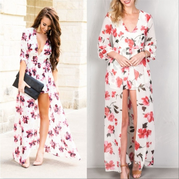 MODA ME COUTURE Pants - CHIC FLORAL MAXI ROMPER
